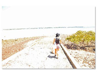 Abstract woman- beach scene
