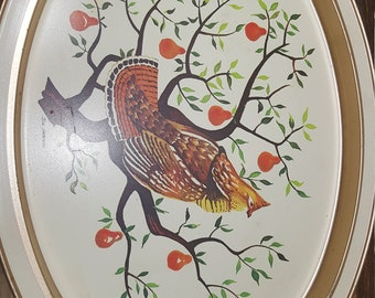 Oval Metal Bird Tray, 1970s, vintage tray, partridge in a pear tree