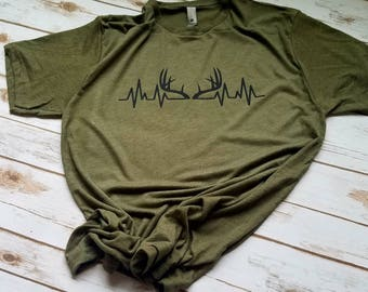 Deer Antler Shirt - Deer Antler Heartbeat Shirt - Hunting Shirts - Mens hunting shirt - Mens t-shirt - Christmas Gifts for Men