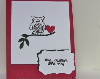 Owl Card, Owl Always Love You, Handmade Anniversary Card, Romantic Card, Card for Wife, Cute Card, Love You Card, Just Because, Miss You