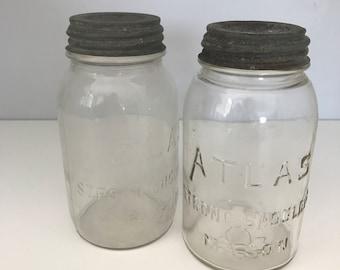 Pair of Vintage Glass Atlas Jars with Zinc Lids, Atlas Strong Shoulder Mason Jar, Clear Glass Atlas Jar, Quart size Mason Canning Jar