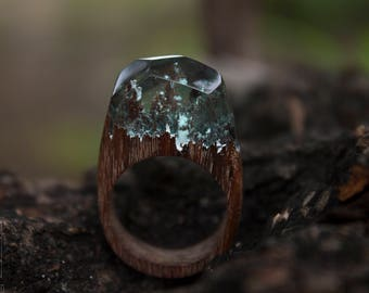 Wood ring\epoxy wood ring\snow ring\mountains ring\Snow Resin Ring\forest ring\nature beauty ring\epoxy resin ring\wood jewelry\facet ring