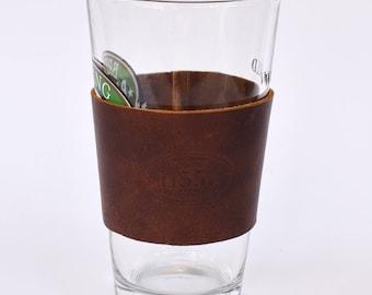 Coffee / Pint Leather Sleeve