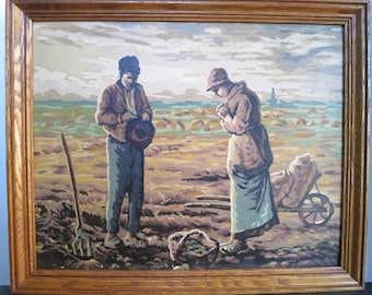 Vintage Paint By Number Peasants The Bountiful Land Framed Painting after Millet's The Angelus