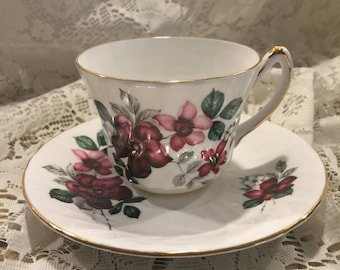 Royal Kendall Fine Bone China Teacup and Saucer - Dark/Light Pink Flowers Green leaves