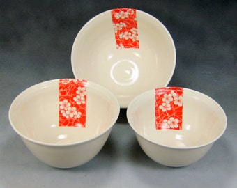 Porcelain Bowl Red and White Fine China Porcelain Serving Bowl Set Hand Thrown Translucent Ceramic Nesting Bowls Pottery Mixing Bowls 1