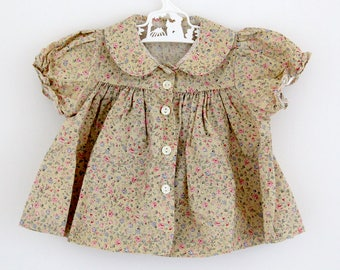 Vintage Adams ditsy floral cotton baby shirt dress, 3-6 months
