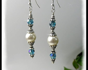 Dangle earrings, Pearl earrings, Indonite crystal earrings, Blue and white earrings, blue and white jewelry, long earrings, crystal earrings