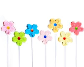 Pretty Daisy Twinkle Pops Long-Stem Lollipops (120 Pieces), 6 Colors for Party Favors Valentines