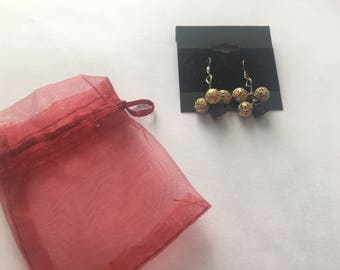Gold Dangling Earrings with Sapphire Cube