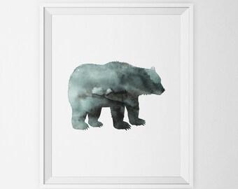 Indigo Bear Silhouette Watercolor Art Print, Woodland Animal Wall Art, Bear Silhouette Printable Bear Art Poster Forest Animal Nursery Decor