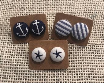 Nautical button earring set!