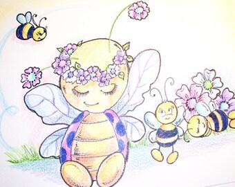 """Ladybugs,Bees and Flowers Ladybug Siesta - Art Print - 8.5 x 11"""""""