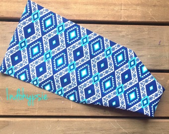 Boho Headband, Hippie Headband, Blue Aztec Headband, Tribal Headband, Festival Headband, Headbands for Yoga, Fashion & Fitness, Sweatband