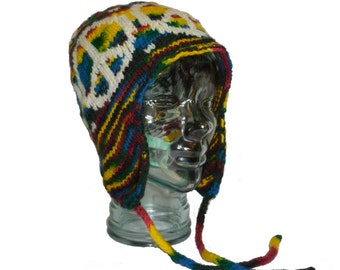 Vibrant Wool Earflap Hat with Strings