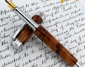 Thuya Burr wood Fountain Pen in Chrome - A unique wooden pen - 1461