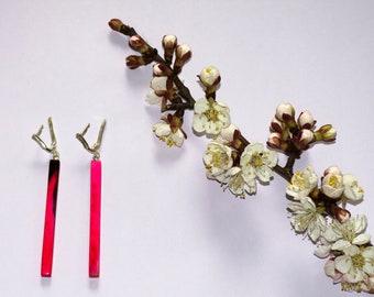 Long earrings dangle of Buffalo horn Raspberry earrings