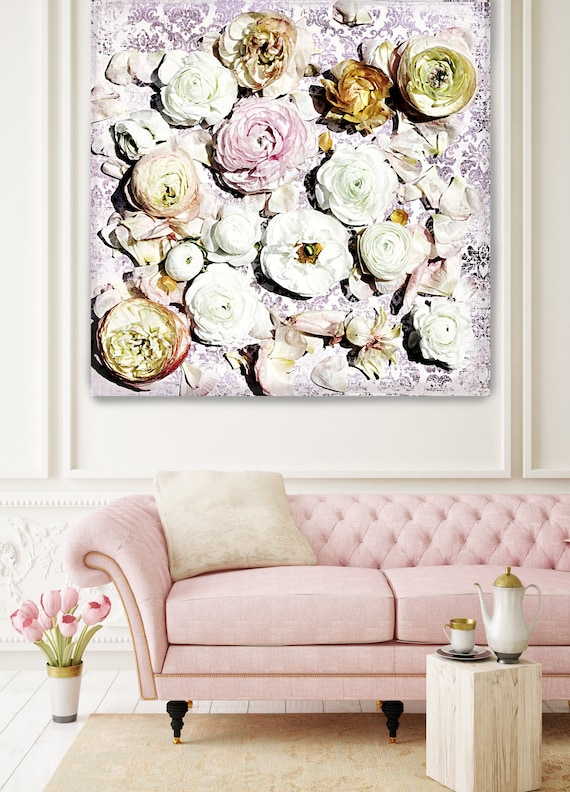"Shabby Chic Flowers 22. Rustic Floral Painting, Pink Yellow White Rustic Large Floral Canvas Art Print up to 48"" by Irena Orlov"