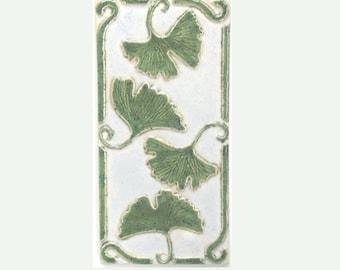 Ginkgo Leaves Arts and Crafts MUD Pi Handmade 4x8 Ceramic Tile