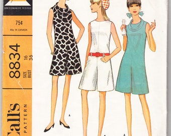 Vintage 1967 McCall's 8834 Sewing Pattern Misses' and Junior's Pantdress Size 16 Bust 36