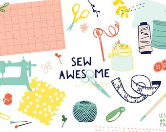 Sew Awesome - Sewing Clip Art - Clipart - Machine - Thread - Needle - Fabric Swatch - Pattern