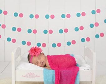 White Pink Teal Paper Garland - Girl's Birthday Photo Prop - Pink Circle Garland - White Paper Bunting