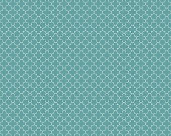 Teal Mini Quatrefoil Fabric from Riley Blake, C345-26