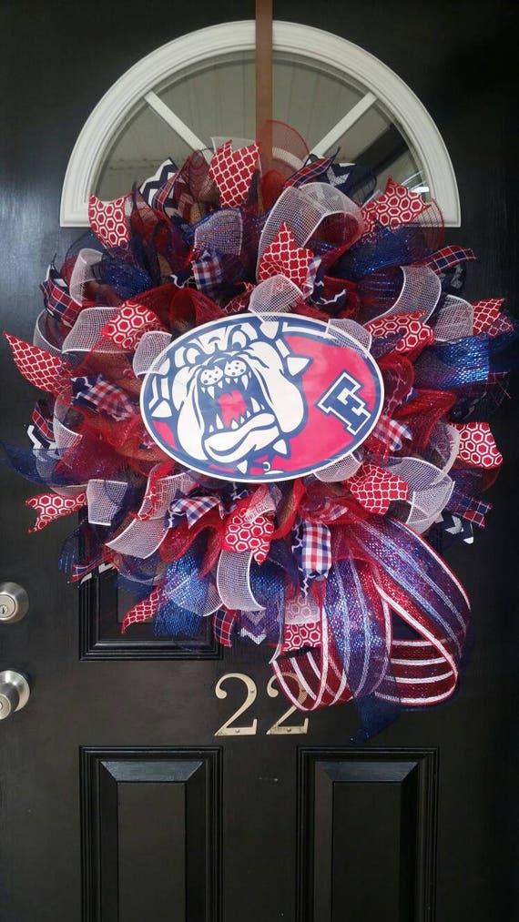 large mesh wreath fresno state bulldogs university college