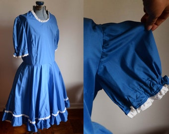 Large / Extra Large - Cute full skirt blue dress with white trim