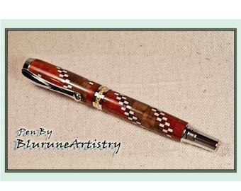 Custom Handcrafted Pen - Rollerball Pen - Rhodium/22k Gold Accents and Segmented Woods - #188