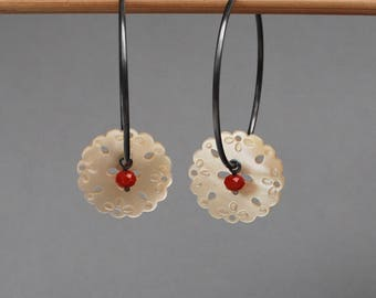 Vintage mother of pearl button hoop earrings