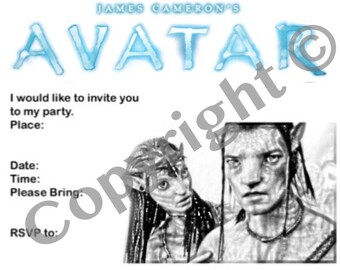 Avatar movie invitation instant download party film invite