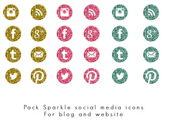 INSTANT DOWNLOAD - Sparkle social media icons pack