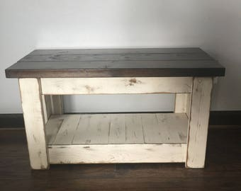 Primitive Wood Bench, TV Stand, Front Porch Bench, Distressed Bench, Farmhouse Bench