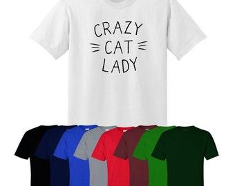Crazy Cat Lady T-shirt Gift Style Fun Meow Print Mens Women's UK Ships Worldwide S-XXL