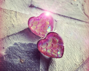 Mermaid Heart Pink AB Fish Scale Silver Stud Earring Set