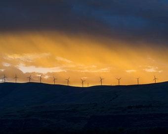 Columbia Gorge Orange Sunset -Windmills -Spring -Landscape Prints -PNW Photographer -Spokane Photographer -Washington Artist