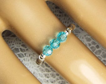 "Cynthia Lynn ""CELEBRATE"" Swarovski Crystal Aquamarine Blue March Birthstone Stretch Ring"