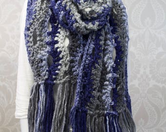 Blue Super Scarf, Crochet Super Scarf, Knitted super scarf, Bulky long scarf, Soft Wool Scarf, Chunky Cozy Scarf, Oversized and soft scarf