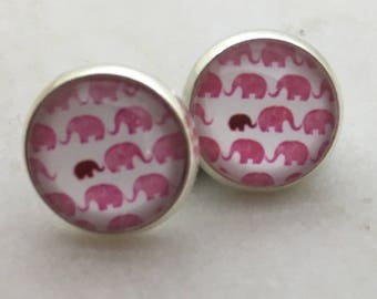 Elephant glass dome stud earrings. 14mm with surgical steel and nickel free posts