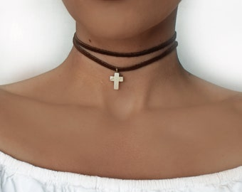 Suede Boho Choker, Layered Boho Choker, Suede cord Choker Necklace, Choker Necklace With Cross, Celeb Jewelry , BFF Gift