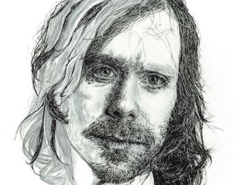 Aaron Dessner of The National illustration print - Unfinished style portrait of American musician in pen / pencil