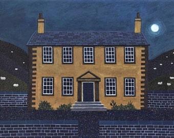 Brontë Sisters Print, Wuthering Heights, EmilyBronte, Art Print, Naive Art, Nocturne, Moon, Poetry, Haworth, Brontë Parsonage, Yorkshire