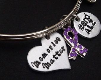 Alzheimers Jewelry - Alzheimers Bracelet - Memories Matter - Purple Ribbon - ENDALZ - Dementia Awareness - Memorial Bracelet