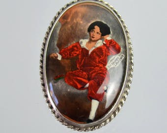 The Red Boy ~ Vintage Sterling Silver Brooch ~ Sir Thomas Lawrence