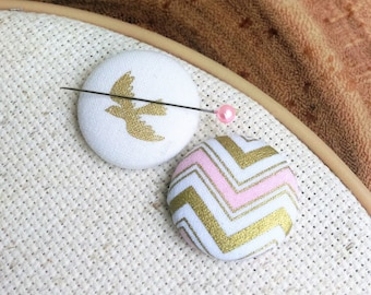 Needle Minder, Bird, Chevron, Gold, Pink,  2 Piece Reversible Scout and Remy, For Cross Stitch, Sewing, Embroidery, Quilting