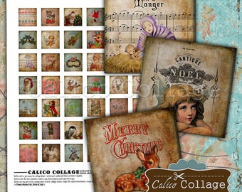 Holiday Digital Collage Sheet, Christmas Ephemera, 1x1 Inch Squares, Images for Pendants, Jewelry Images, Digital Download, Printables