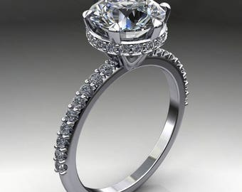 kiera ring - 1.5 carat diamond cut round NEO moissanite engagement ring, diamond wrap