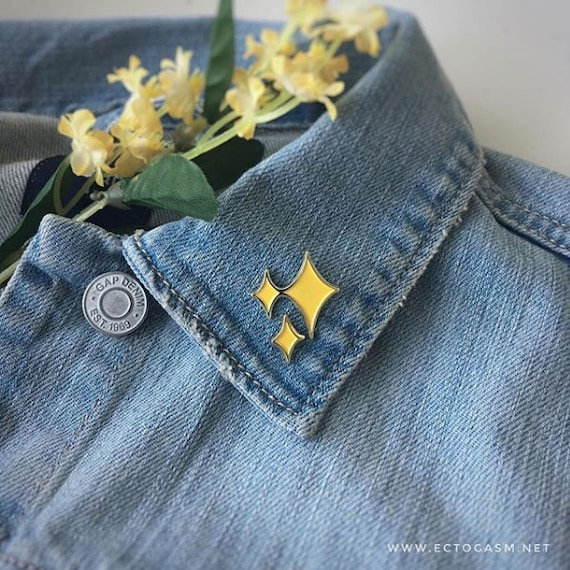 Gold Sparkle Star Enamel Pins Set Of 2   Magical Cute Emoji Pin In Yellow   Brooch For Women Girls   Disney Twinkle Flair by Etsy