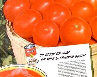 1947 Campbells Tomato Soup & Birds Eye Asparagus Shrimp Advertisement Ads Print Poster Sign Nostalgic Typography Red Wall Art Home Decor